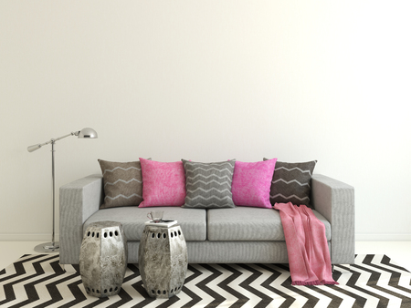 living room wall: Interior of modern living-room with gray couch. 3d render. Stock Photo