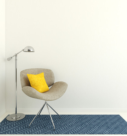 Modern interior with gray armchair near empty white wall. 3d render.