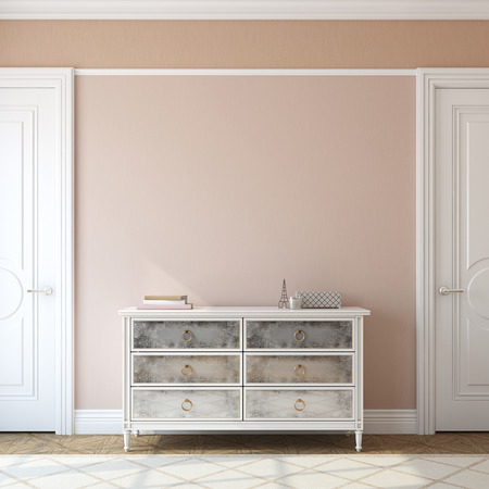 contemporary: Interior of foyer with dresser near empty pink wall. 3d render. Stock Photo