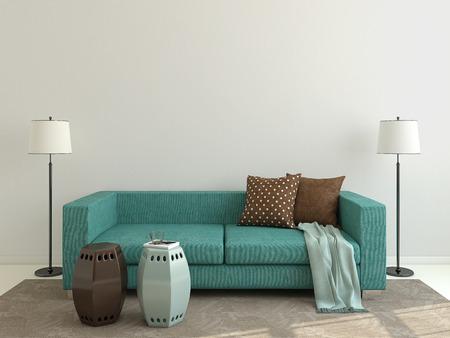 青いソファ モダンなリビング ルームのインテリア。3 d のレンダリング。