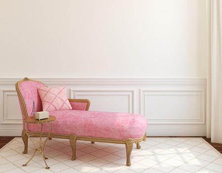 빈 흰색 벽 근처 핑크 소파 현대 거실 인테리어입니다. 3d 렌더링입니다.