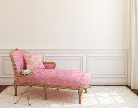 romantic room: Modern living-room interior with pink couch near empty white wall. 3d render.