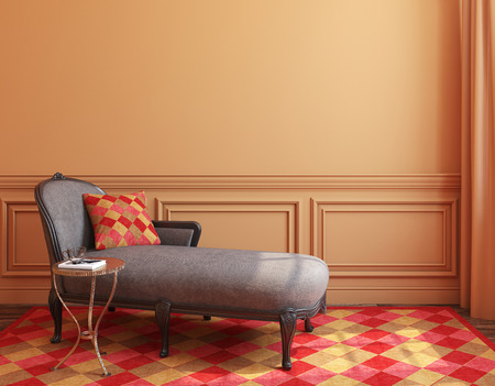 Modern living-room interior with classic couch near empty wall. 3d render.