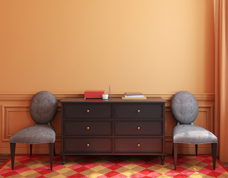 Interior with dresser and two chairs near empty wall. 3d render.