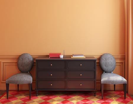 Interieur met dressoir en twee stoelen in de buurt van lege muur. 3d render.