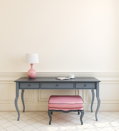 study table: Beautiful modern interior with gray table and pink ottoman near empty beige wall. 3d render. Stock Photo