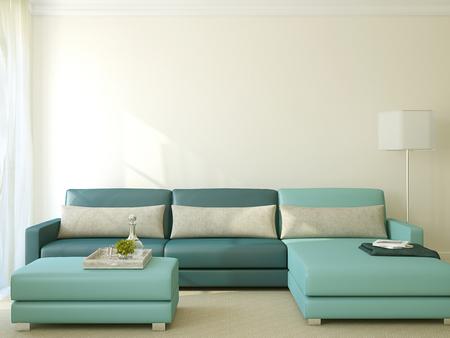 azul turqueza: Interior de la moderna sala de estar con sof� azul. 3d.