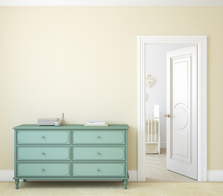 Modern hallway with open door. Dresser near beige wall. 3d render. 스톡 콘텐츠