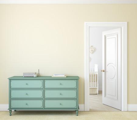 Modern hallway with open door. Dresser near beige wall. 3d render. Archivio Fotografico