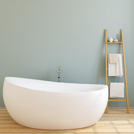 Interior of modern bathroom with blue wall and wooden floor. 3d render.