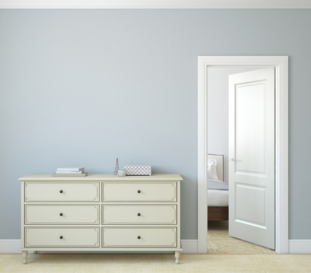 Modern hallway with open door. Dresser near blue wall. 3d render.