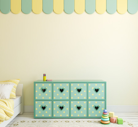 baby toys: Playroom interior for boy. 3d render. Stock Photo