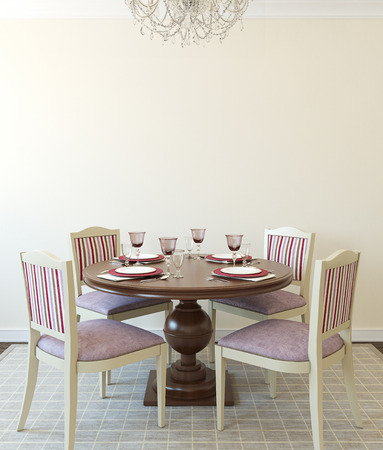 diningroom: Modern dining-room interior.Wooden table and four chairs. 3d render.