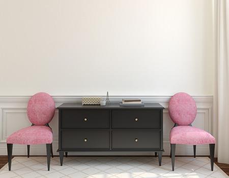 Intérieur avec commode et deux chaises roses près vide mur beige. 3d render.