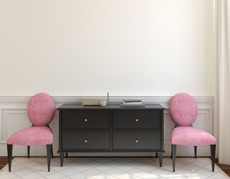 living room: Interior with dresser and two pink chairs near empty beige wall. 3d render. Stock Photo