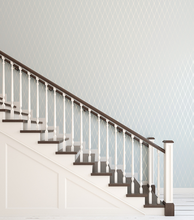 armrest: Classic wood stairway. Interior of hallway. 3d render.
