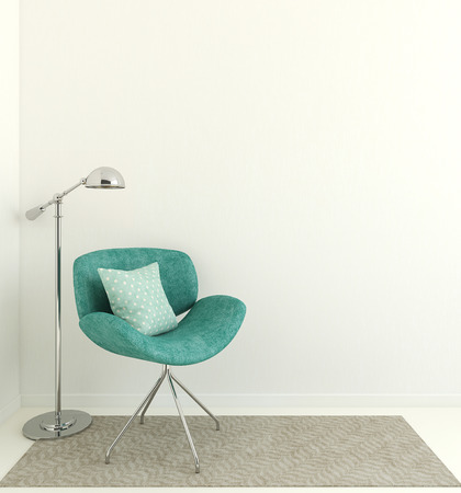 Modern interior with blue armchair near empty white wall. 3d render. Stock Photo