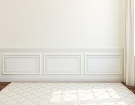インテリア。空の白い部屋。3 d のレンダリング。