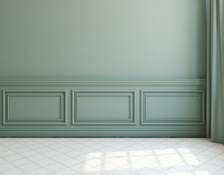 Interior. Empty room with dack wall and light rug. 3d render.