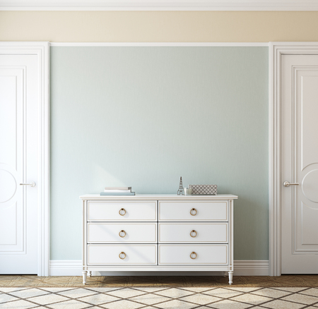 commode: Interior of foyer with dresser near empty blue wall. 3d render.