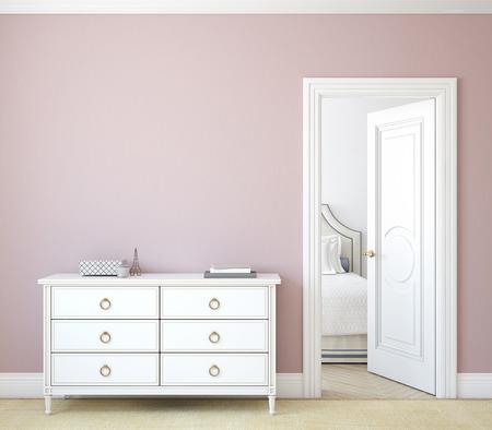Modern hallway with open door. White dresser near pink wall. 3d render.
