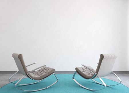 interior wall: Modern interior with two armchairs near empty white wall. 3d render. Stock Photo