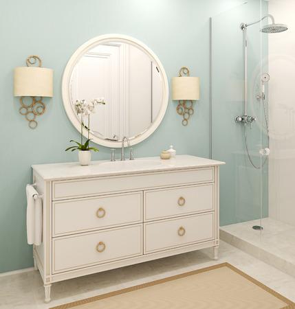 Intérieur de la salle de bain moderne. Rendu classique de style.3d.