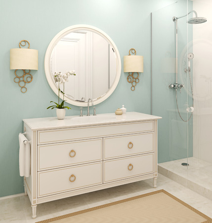 the white house: Modern bathroom interior. Classic style.3d render.