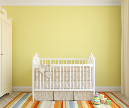 Colorful interior of nursery. Frontal view. 3d render. Banque d'images