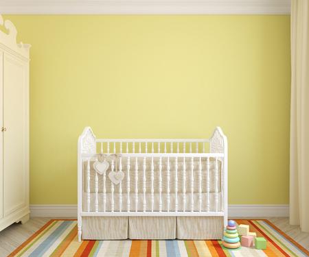 nursery: Interior colorido de la guardería. Vista frontal. 3d.