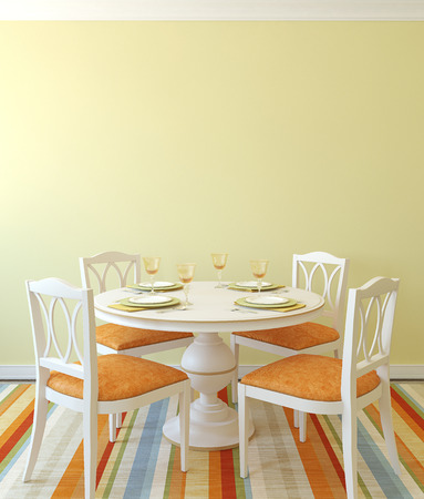 diningroom: Modern dining-room interior.Table and four chairs. 3d render.