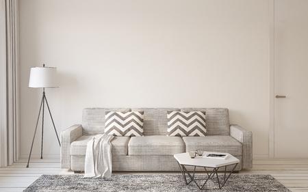 Wohnzimmer Interieur im skandinavischen Stil 3D-Darstellung.