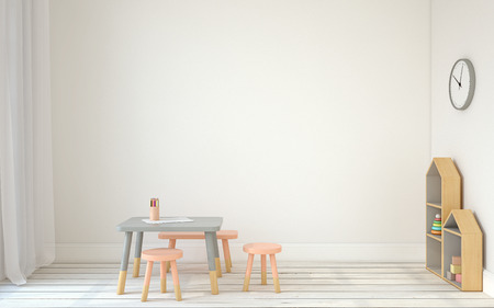 Binnenland van speelkamer met kleine tafel en drie stoelen. Scandinavic stijl. 3d render. Stockfoto