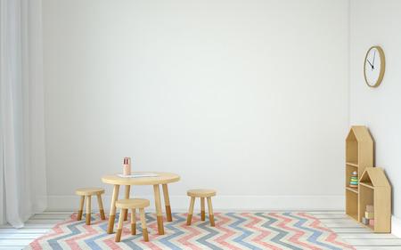 小さなテーブルと 3 つの椅子のあるプレイルームのインテリア。Scandinavic スタイル。3 d のレンダリング。 写真素材