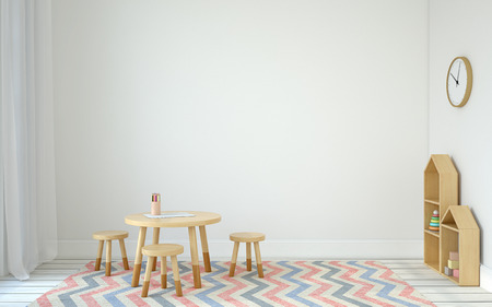 Interior of playroom with small table and three chairs. Scandinavic style. 3d render. 스톡 콘텐츠