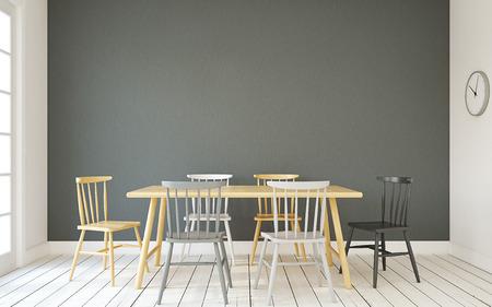 diningroom: Interior of dining-room interior in scandinavic style.3d render. Stock Photo