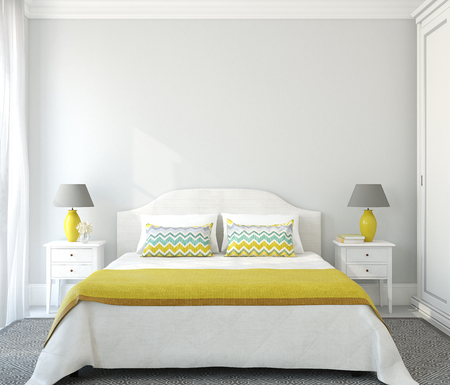 kingsize: Interior of bedroom with king-size bed. 3d render.