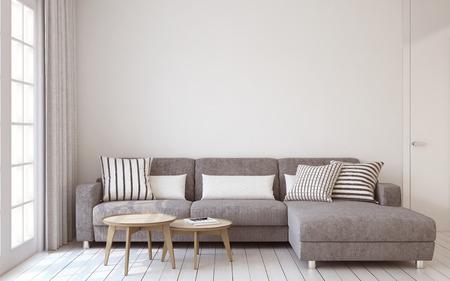 render: Living-room interior in scandinavian style 3d render.