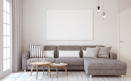 Living-room interior in scandinavian style. Mock-up interior with poster. 3d render. Фото со стока