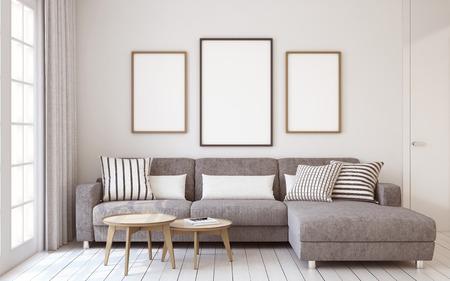Woonkamer interieur in Scandinavische stijl. Mock-up interieur met posters. 3d render.