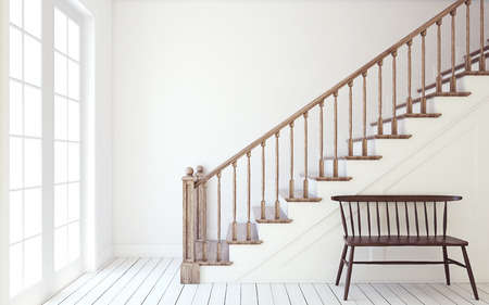 Interior of hallway with wood stairway. Wall mockup. 3d render. Stock Photo