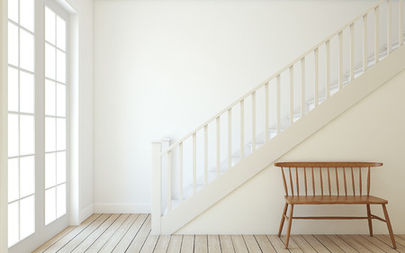 Interior of hallway with wood stairway. Wall mockup. 3d render. 스톡 콘텐츠