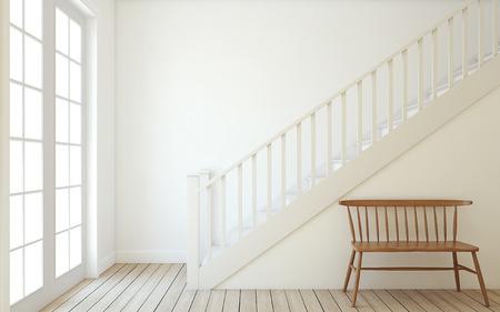 Interior of hallway with wood stairway. Wall mockup. 3d render. Foto de archivo