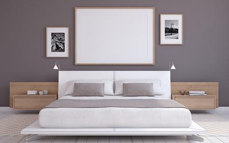 poster bed: Modern bedroom interior. Frame mockup. 3d render. Stock Photo
