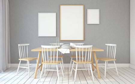 diningroom: Interior of dining-room interior in scandinavian style.Frame mockup. 3d render.