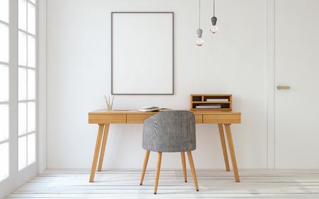 Intérieur d'un bureau à domicile dans le style scandinave. intérieur maquette avec l'affiche. 3d rendre. Banque d'images - 68877237