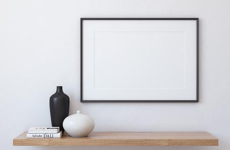 Frame landscape mockup. Interior with large frame. 3d render. Standard-Bild