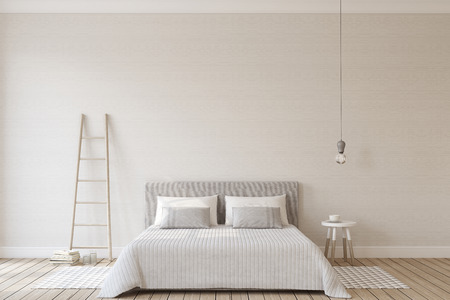 Bedroom interior in scandinavian style. Interior mock-up. 3d render.