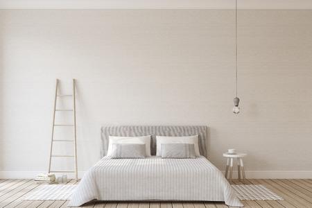 Slaapkamerbinnenland in Skandinavische stijl. Interieur mock-up. 3d render.