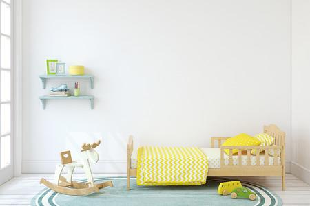 Bedroom for boy. Interior mock up. 3d render. 版權商用圖片 - 80449524